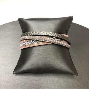Magnetic Wrap Bracelet Pink & Grey Vegan Leather